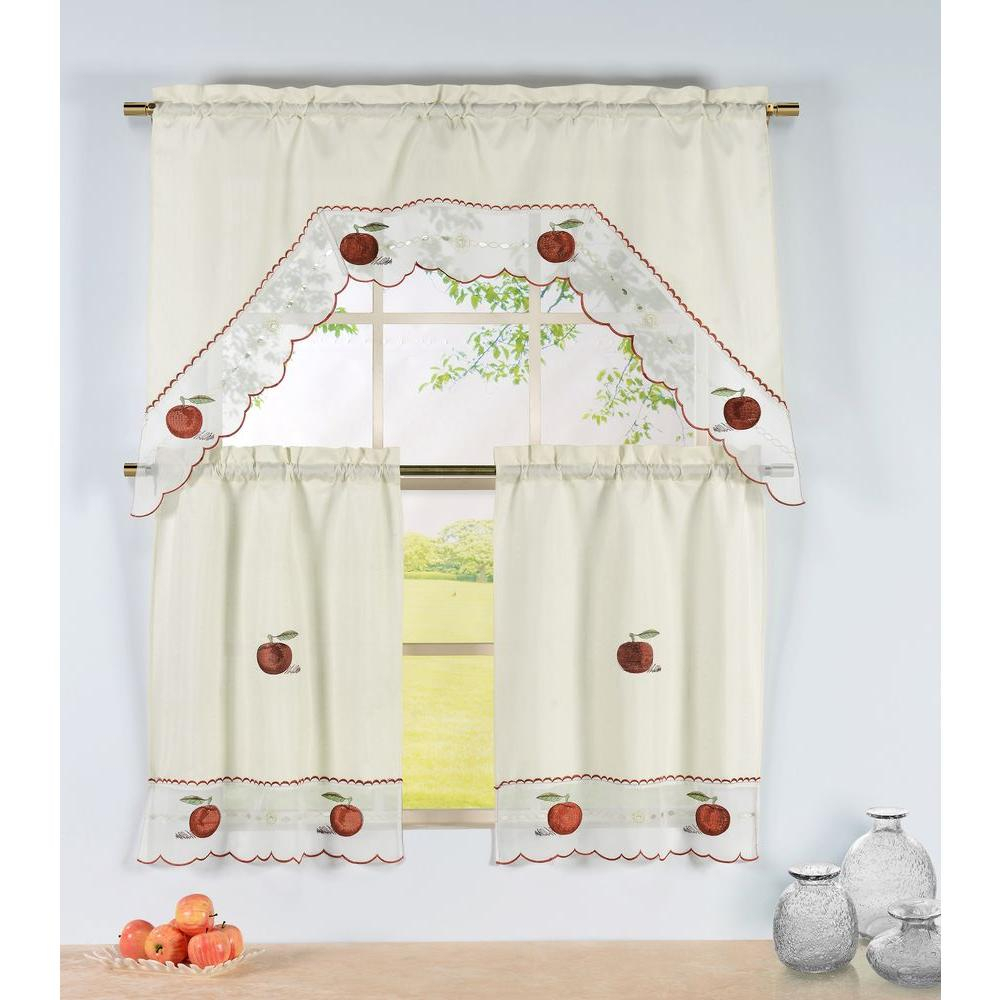 Window Elements Semi Opaque Apple Time Embroidered 3 Piece Kitchen Curtain Tier And Valance Set Inside Embroidered Floral 5 Piece Kitchen Curtain Sets (View 7 of 20)