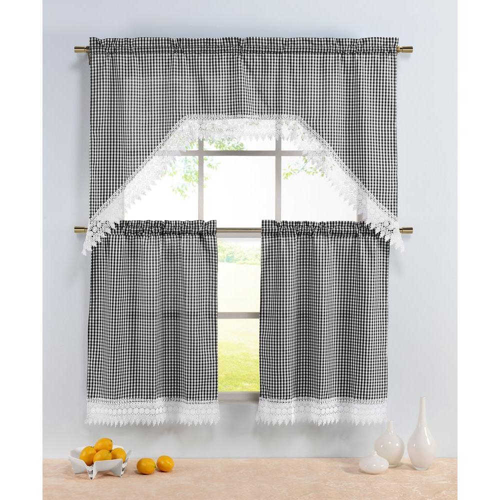 Window Elements Semi Opaque Checkered Black Embroidered 3 Piece Kitchen Curtain Tier And Valance Set With Regard To Semi Sheer Rod Pocket Kitchen Curtain Valance And Tiers Sets (View 20 of 20)