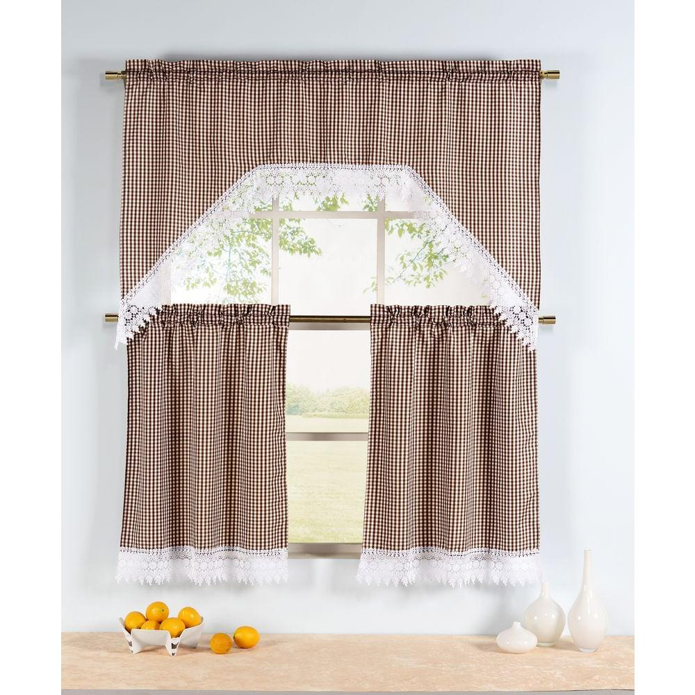 Window Elements Semi Opaque Checkered Chocolate Embroidered 3 Piece Kitchen Curtain Tier And Valance Set Intended For Window Curtain Tier And Valance Sets (View 18 of 20)