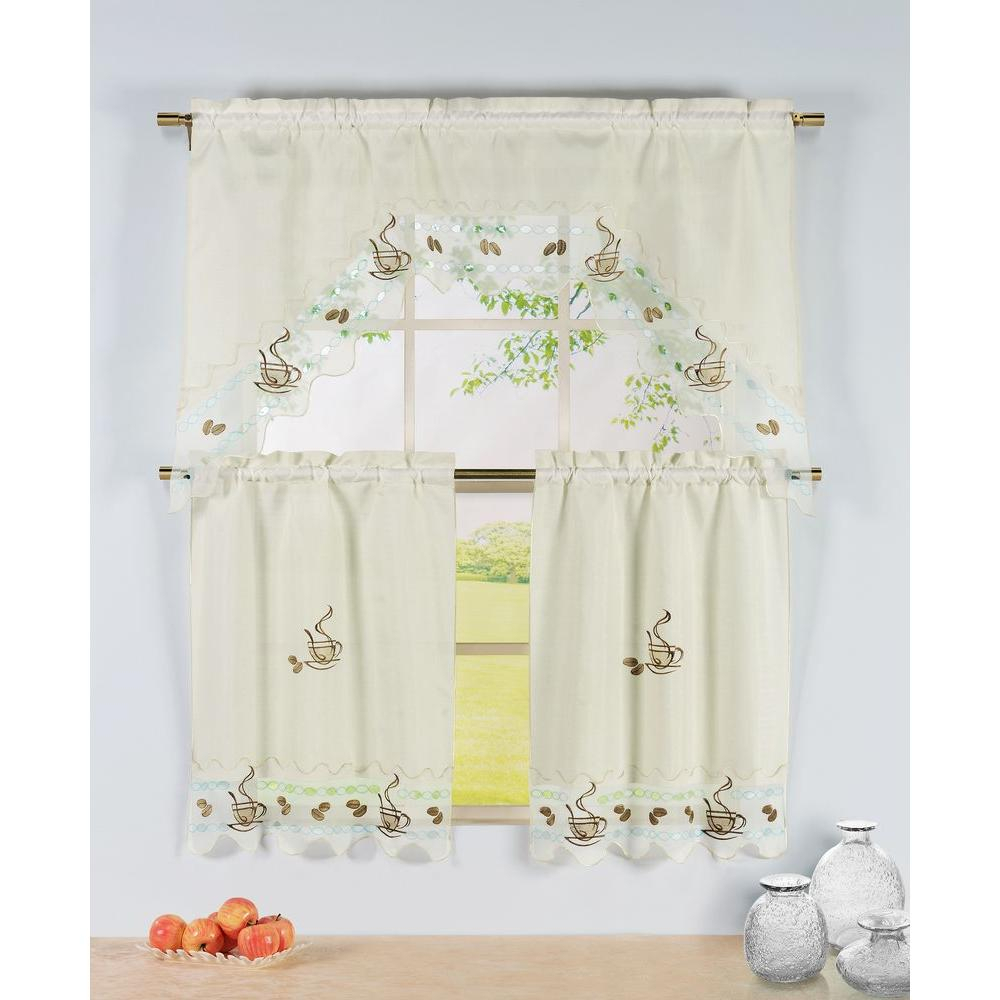 Window Elements Semi Opaque Coffee Talk Embroidered 3 Piece Kitchen Curtain Tier And Valance Set With Regard To Window Curtain Tier And Valance Sets (View 5 of 20)