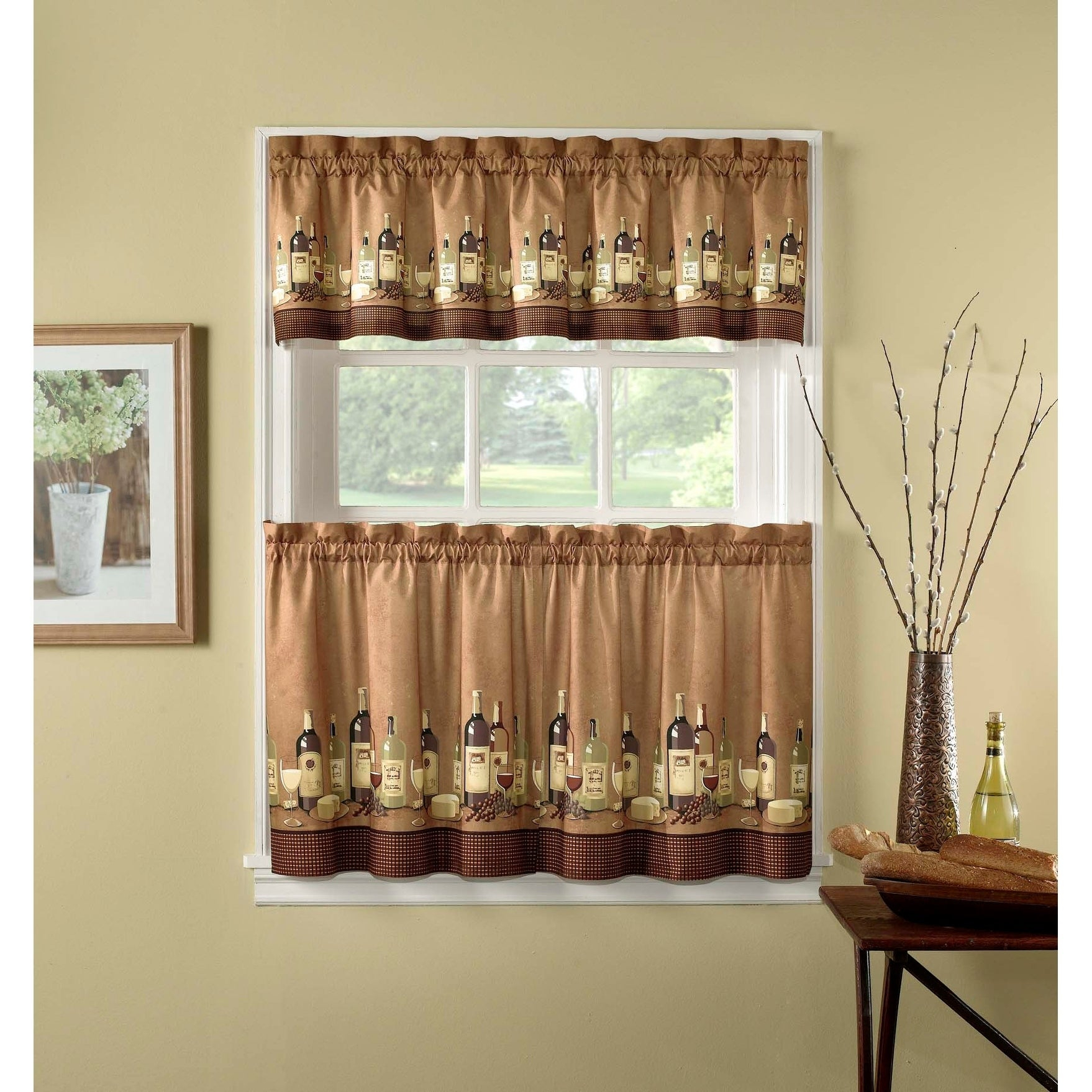 Wines 3 Piece Kitchen Curtain Tier Set Within Coffee Drinks Embroidered Window Valances And Tiers (View 20 of 20)