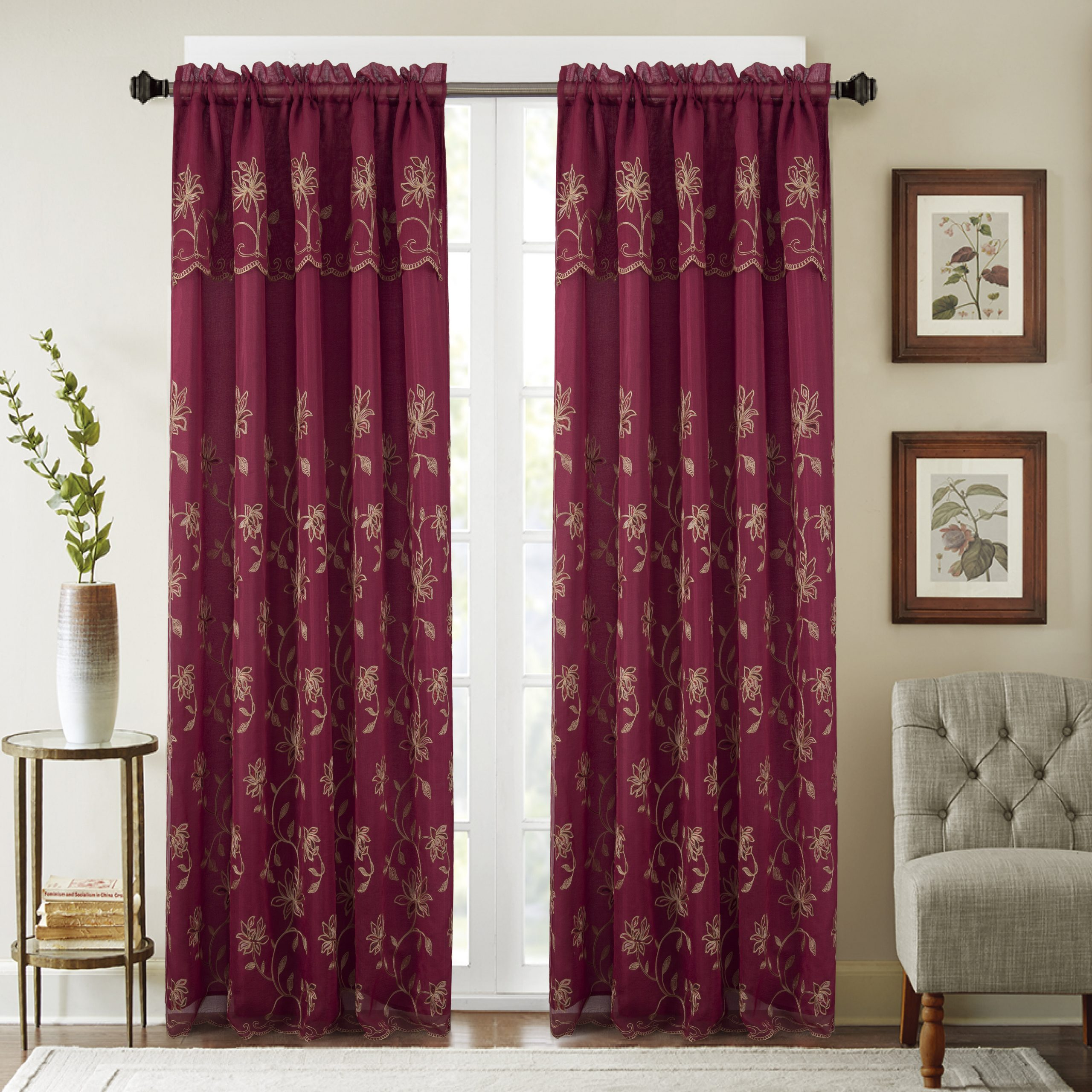 Winston Porter Dugan Embroidered Floral/flower Semi Sheer In Semi Sheer Rod Pocket Kitchen Curtain Valance And Tiers Sets (View 20 of 20)