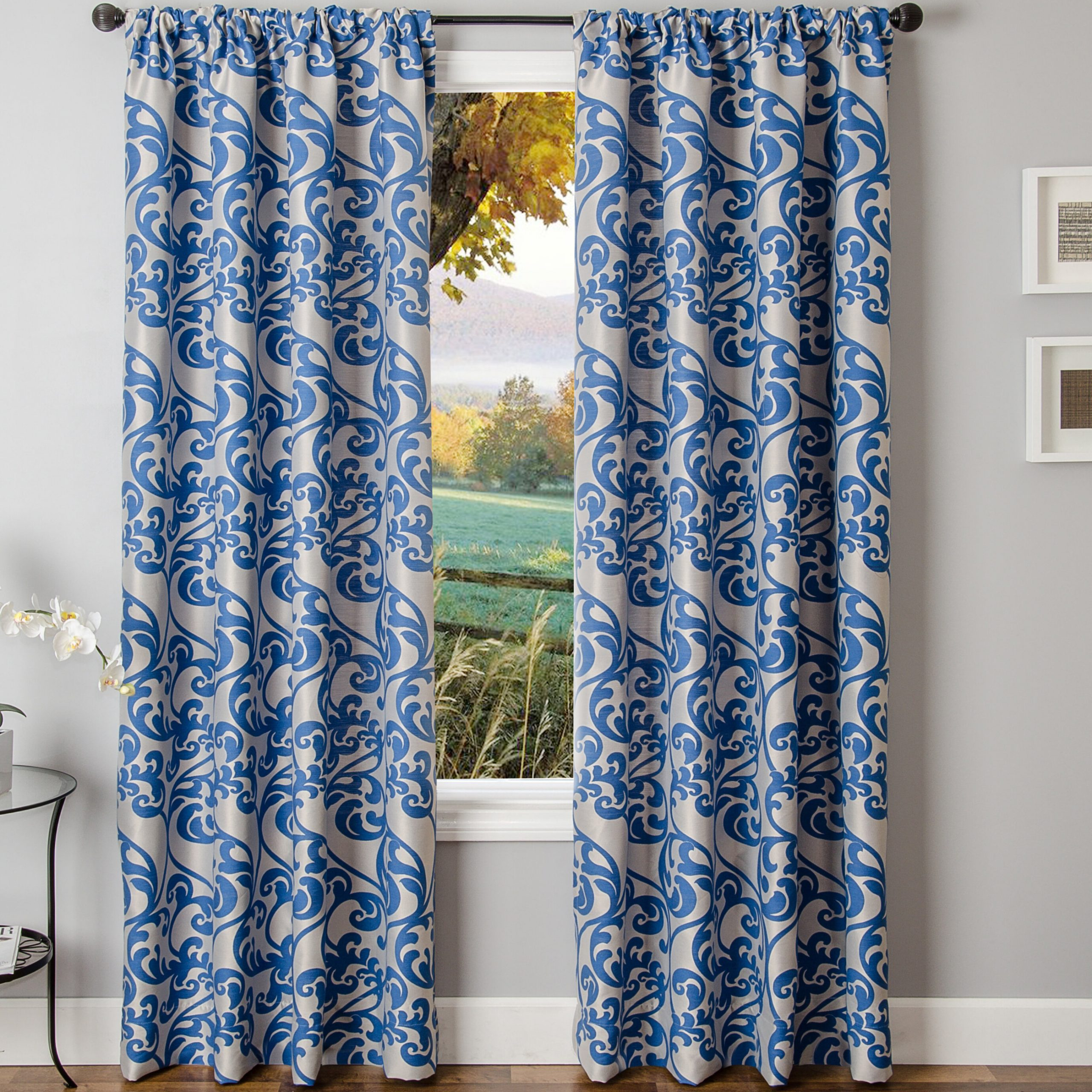 Winston Porter Lavonne Nature / Floral Room Darkening Rod Throughout Class Blue Cotton Blend Macrame Trimmed Decorative Window Curtains (View 12 of 20)