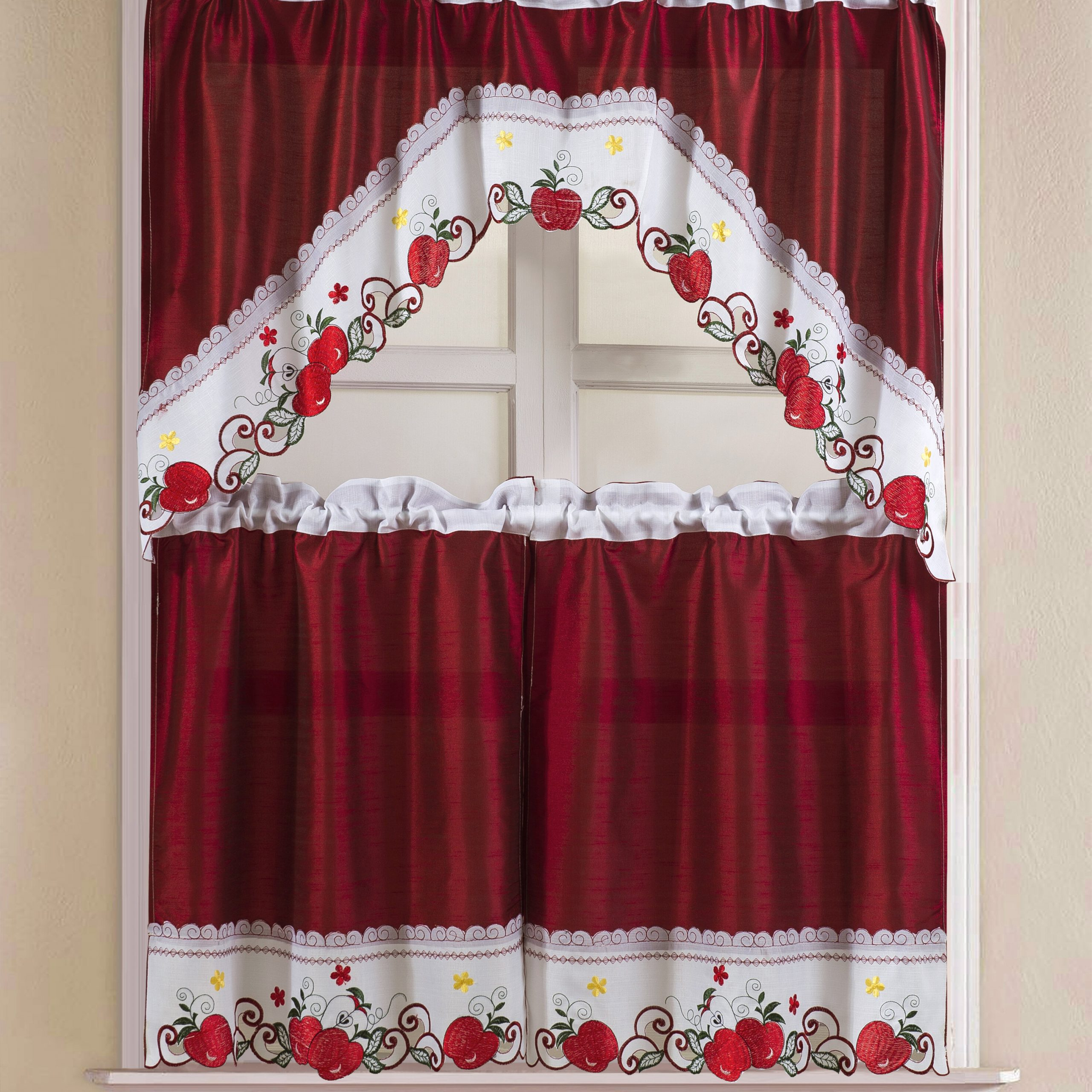 Winston Porter Soltis Apple Kitchen Curtain Set & Reviews Regarding Chateau Wines Cottage Kitchen Curtain Tier And Valance Sets (View 20 of 20)