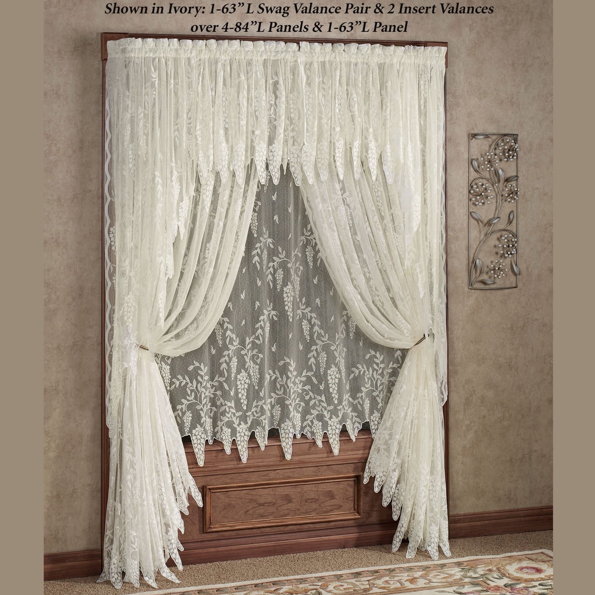 Wisteria Arbor Lace Window Treatments With Sheer Lace Elongated Kitchen Curtain Tier Pairs (View 20 of 20)