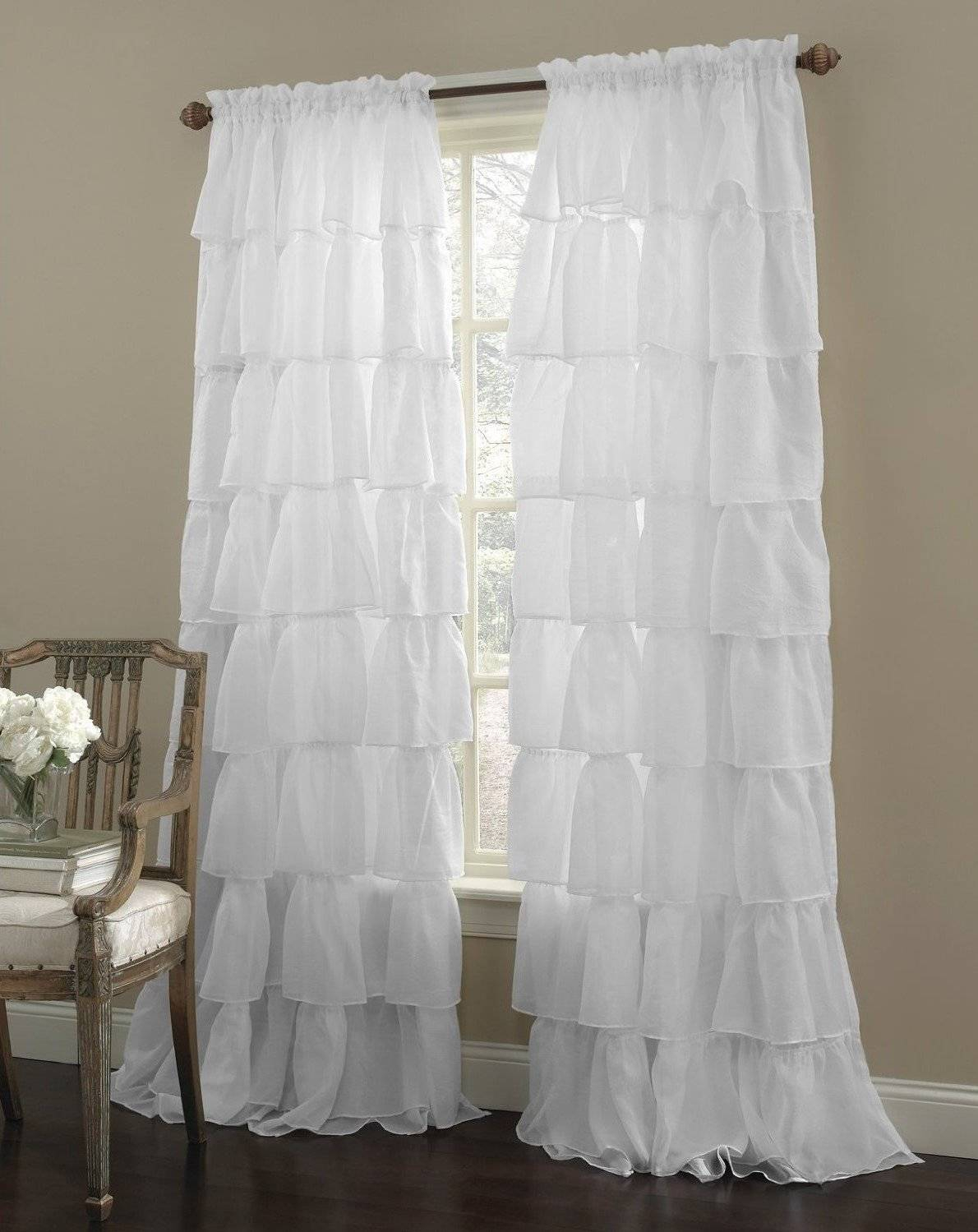 Wonderful Ruffled Window Curtains Piece Gypsy Shabby Chic In Chic Sheer Voile Vertical Ruffled Window Curtain Tiers (View 20 of 20)