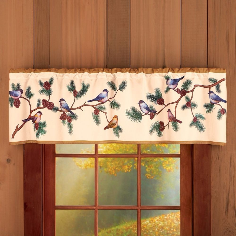 Woodland Birds On Tree Branch Pine Cone Tan Window Valance Throughout Tree Branch Valance And Tiers Sets (View 11 of 20)