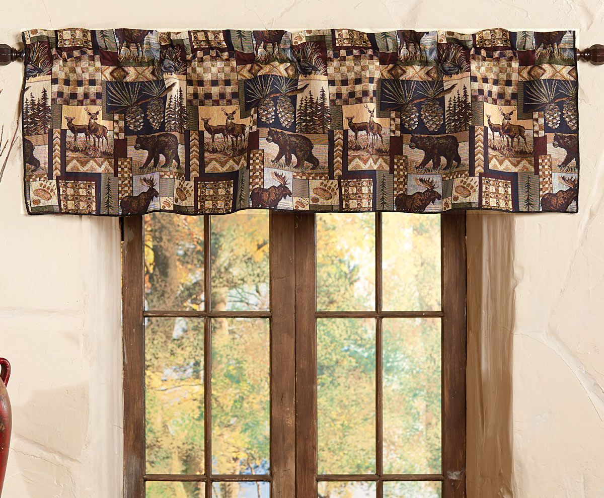 Woodland Cabin Valance In 2019 | Cabin Curtains, Rustic Intended For Forest Valance And Tier Pair Curtains (View 18 of 20)