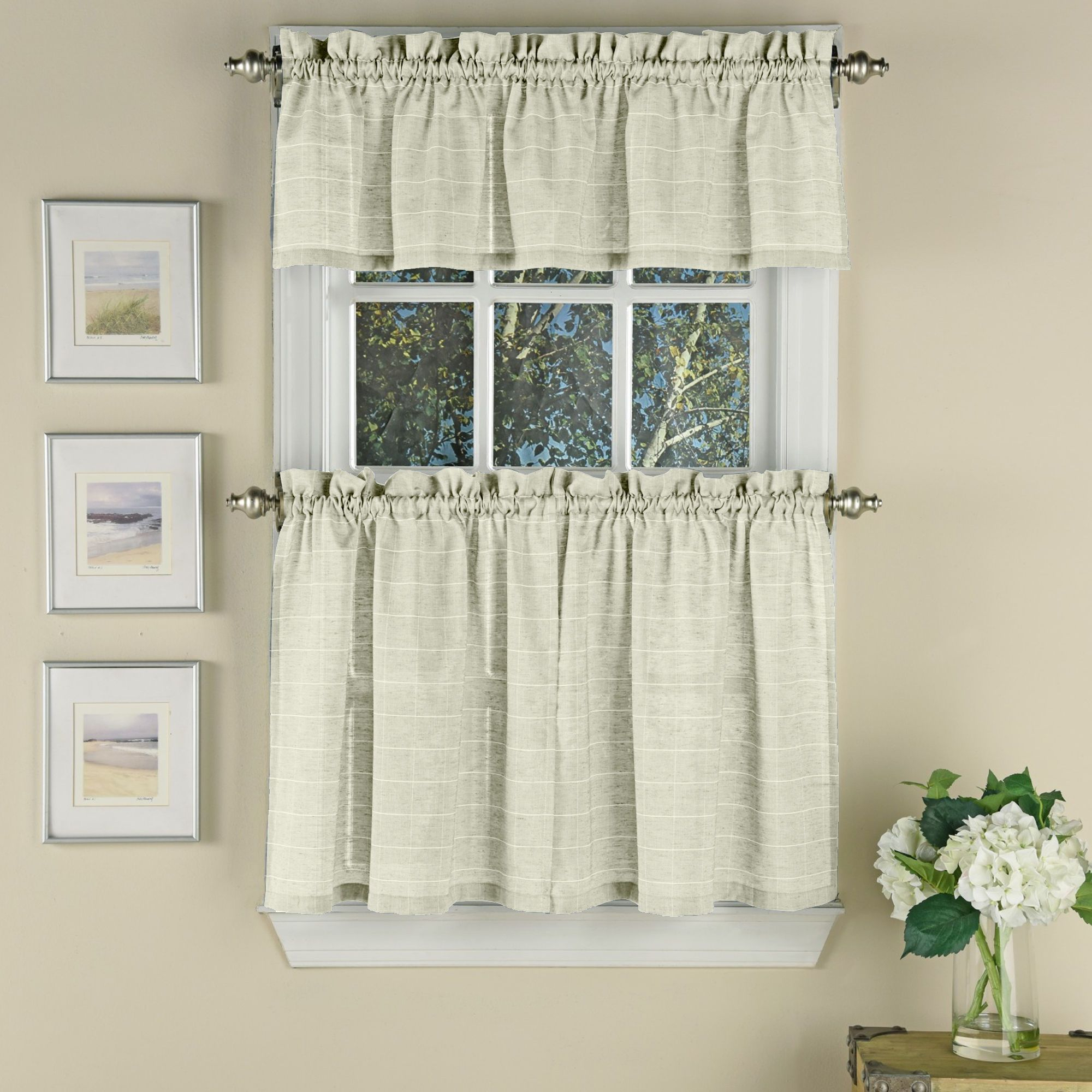 Woven Window Pane Pattern Polyester Curtain Pieces For Dakota Window Curtain Tier Pair And Valance Sets (View 11 of 20)
