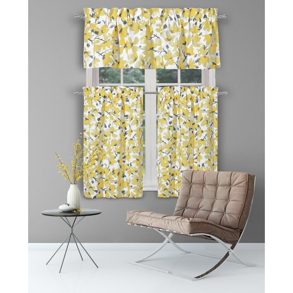 Yellow Kitchen Curtain Sets – Martinique Throughout Bermuda Ruffle Kitchen Curtain Tier Sets (View 12 of 20)