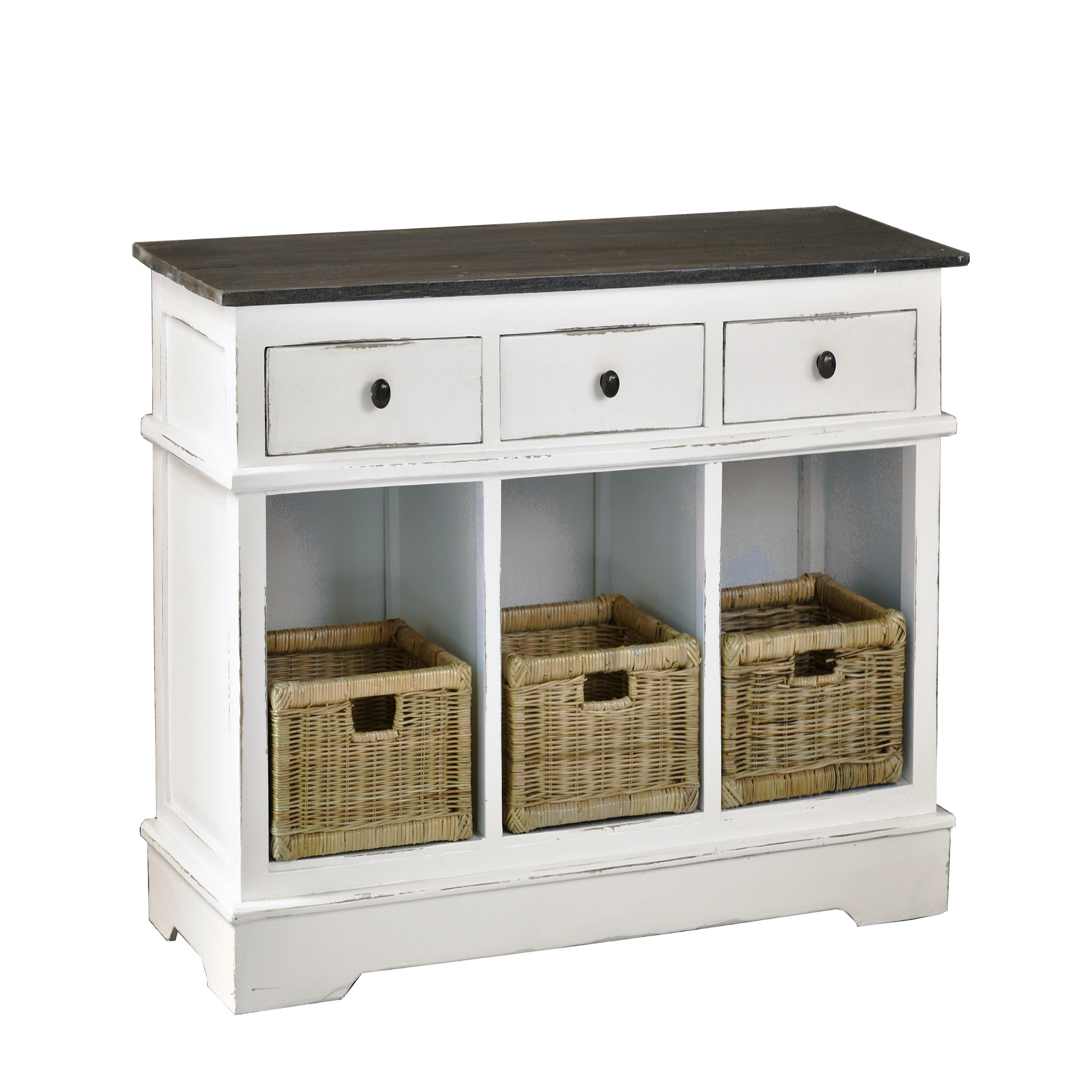 """42"""" White And Brown Cottage Sideboard With 3 Basket And For Albright 58"""" Wide 3 Drawer Sideboards (View 13 of 15)"""