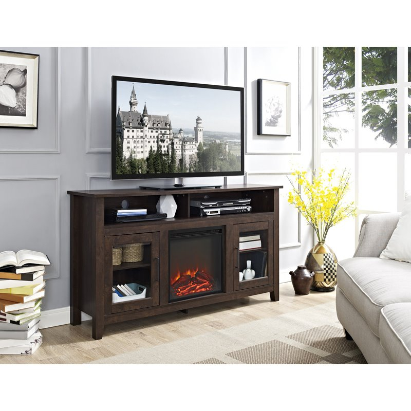 """58"""" Wood Highboy Fireplace Media Tv Stand – Traditional For Jace Tv Stands For Tvs Up To 58"""" (View 4 of 15)"""