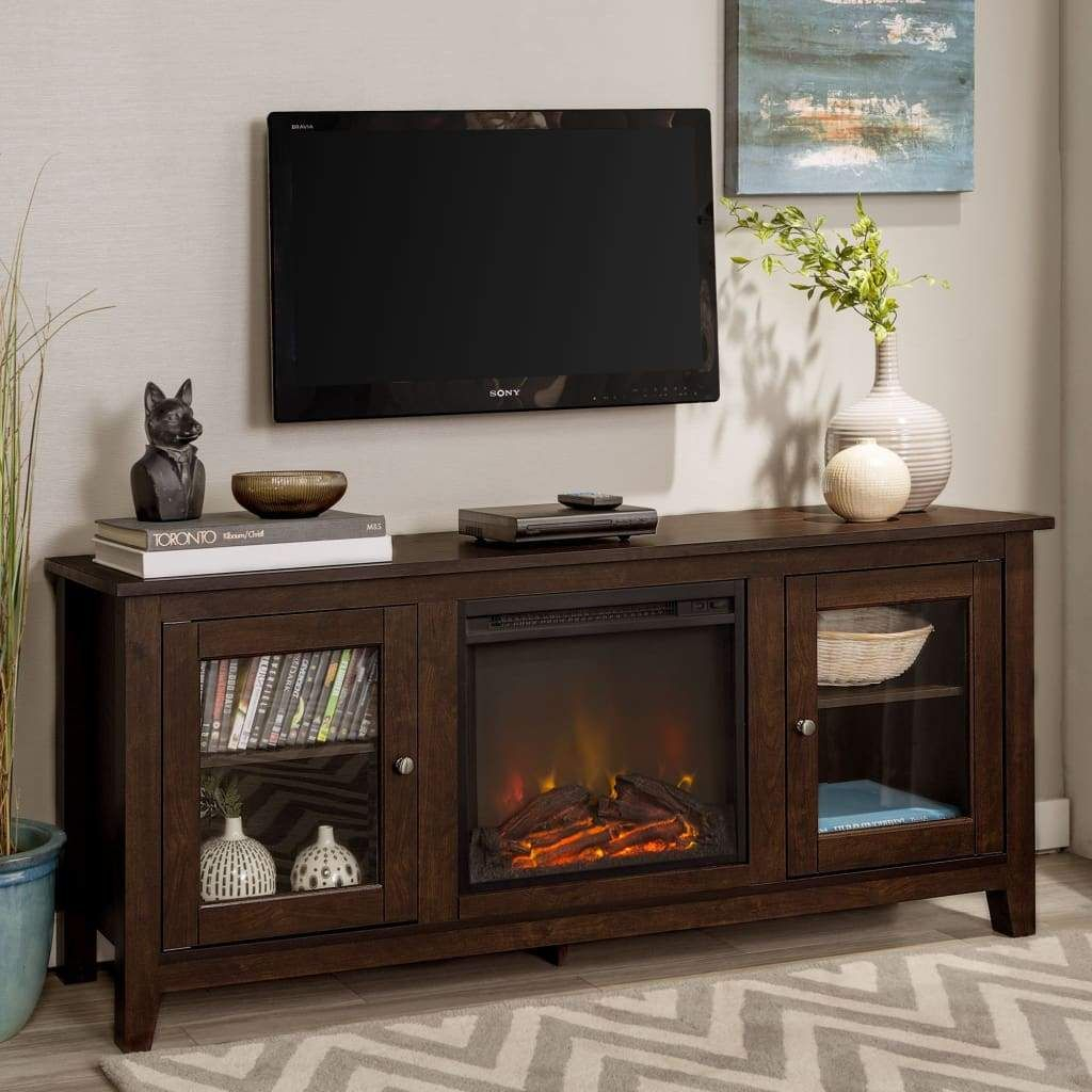 """58"""" Wood Media Tv Stand Console With Fireplace In Jace Tv Stands For Tvs Up To 58"""" (View 12 of 15)"""
