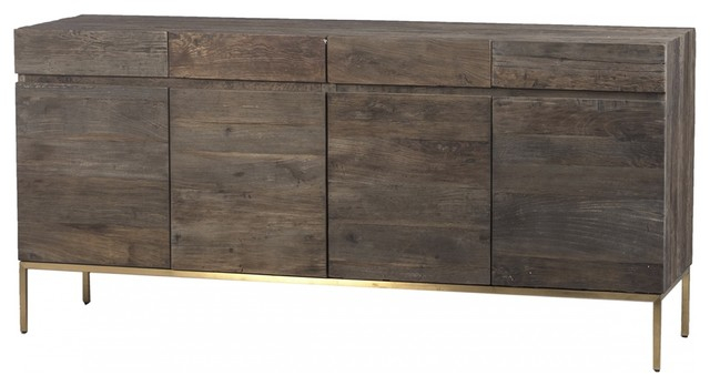 """72"""" Long Claudia Sideboard Wood Natural Brown Four Door With Hargrove 72"""" Wide 3 Drawer Mango Wood Sideboards (View 12 of 15)"""