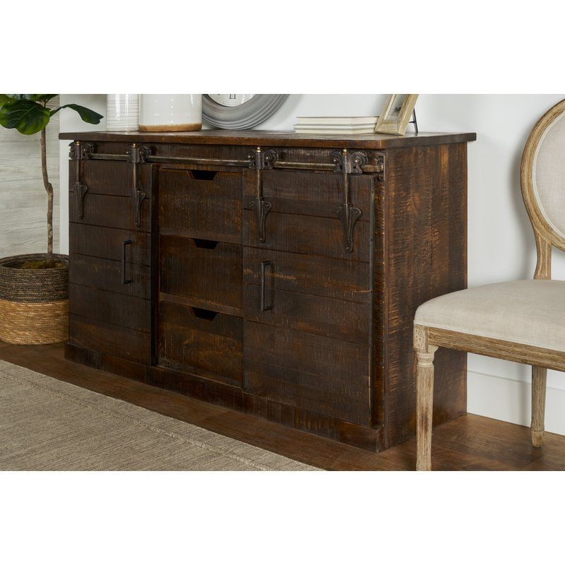 """Adelina 58"""" Wide 3 Drawer Sideboard   Barn Door Console Throughout Albright 58"""" Wide 3 Drawer Sideboards (View 7 of 15)"""