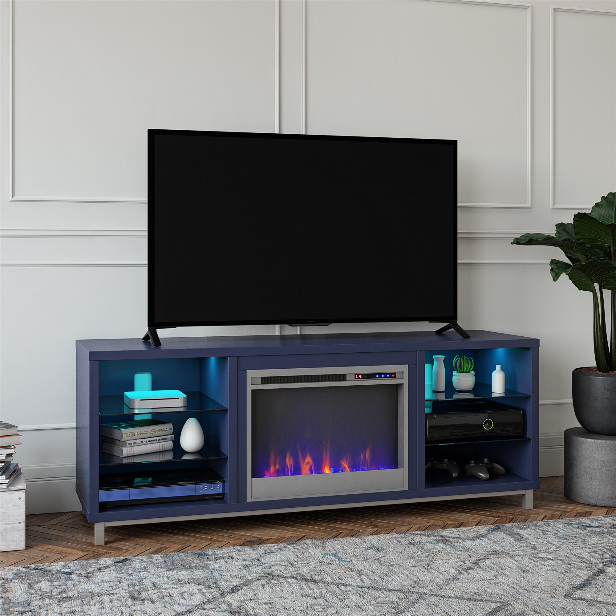 """Ameriwood Home Lumina Deluxe Fireplace Tv Stand For Tvs Up Throughout Lederman Tv Stands For Tvs Up To 70"""" (View 10 of 15)"""