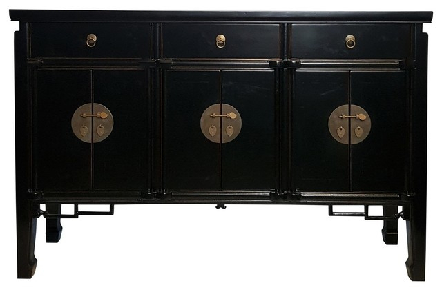 """Asian Six Door Buffet With Key Carving, Black Lacquer Throughout Westhoff 60"""" Wide 6 Drawer Pine Wood Credenzas (View 7 of 15)"""