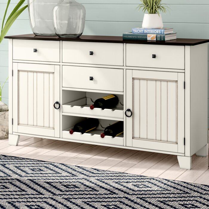 """Beachcrest Home Tamiami 66"""" Wide 4 Drawer Rubberwood For Findley 66"""" Wide Sideboards (View 13 of 15)"""