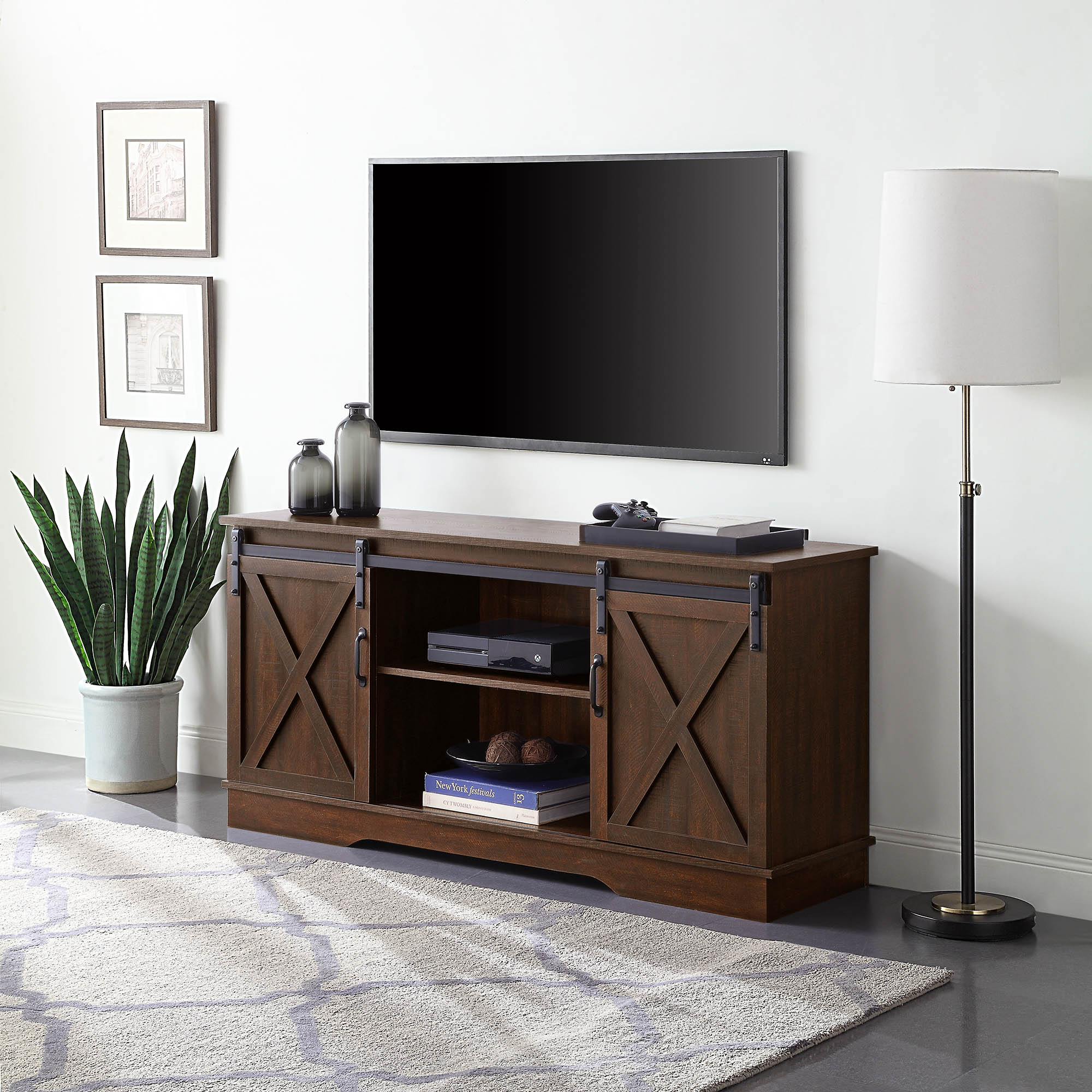 """Belleze Modern Farmhouse Style 58""""tv Stand W/sliding Barn In Jace Tv Stands For Tvs Up To 58"""" (View 2 of 15)"""