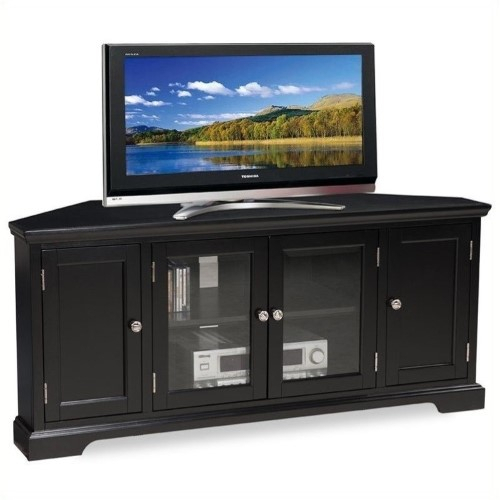 Bowery Hill 56' Corner Tv Stand In Black | Corner Tv Regarding Kemble Tv Stands For Tvs Up To (View 5 of 15)