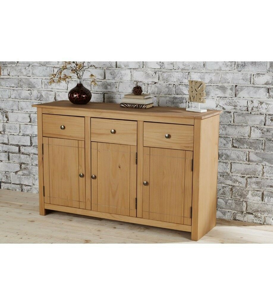 """Brand New Home Furniture Panama 3 Drawer Solid Pine Large Inside Millstadt 52"""" Wide 3 Drawer Pine Wood Buffet Tables (View 7 of 15)"""