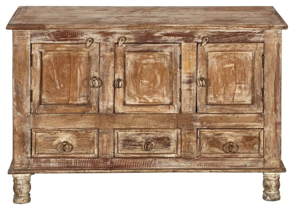 """Brice Distressed Finish 3 Door 3 Drawer Sideboard Cabinet Throughout Nahant 36"""" Wide 4 Drawer Sideboards (View 11 of 15)"""