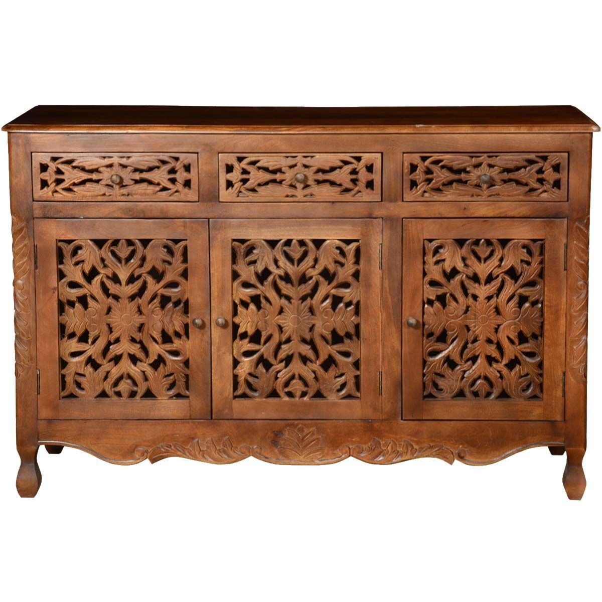 """Buffet Cabinet Black – Pennsylvania Mango Wood Hand Carved Pertaining To Beckenham 73"""" Wide Mango Wood Buffet Tables (View 8 of 15)"""