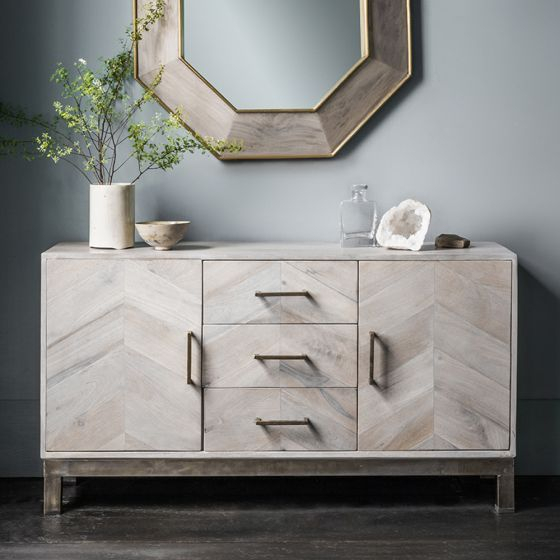 """Chevron Sideboard   Sideboard Decor, Sideboards Living Intended For Beckenham 73"""" Wide Mango Wood Buffet Tables (View 11 of 15)"""