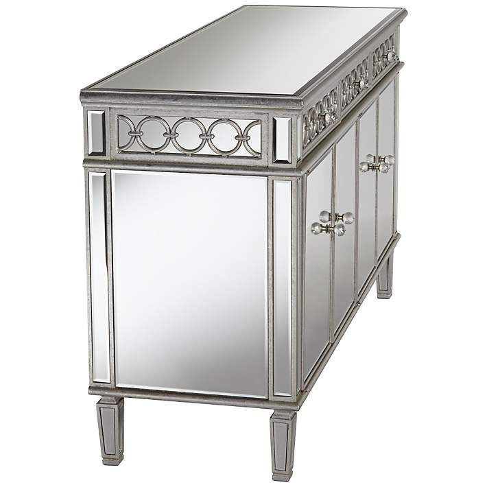 "Elizabeth 60"" Wide 4 Door Silver Mirrored Buffet Cabinet Regarding Searsport 48"" Wide 4 Drawer Buffet Tables (View 2 of 15)"