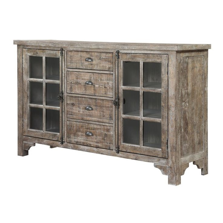 """Engles 68'' Wide 4 Drawer Rubberwood Wood Buffet Table In With Regard To Kidham 68"""" Wide Sideboards (View 11 of 15)"""