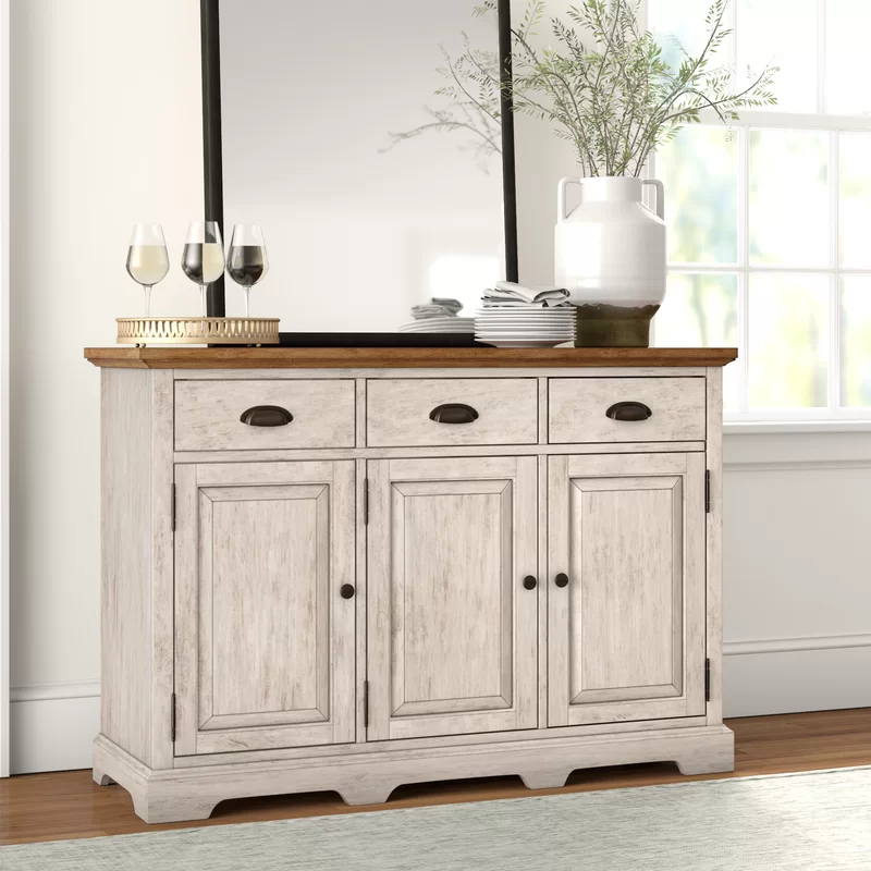 """Fortville 52"""" Wide 3 Drawer Rubberwood Wood Sideboard Throughout Slattery 52"""" Wide 2 Drawer Buffet Tables (View 8 of 15)"""