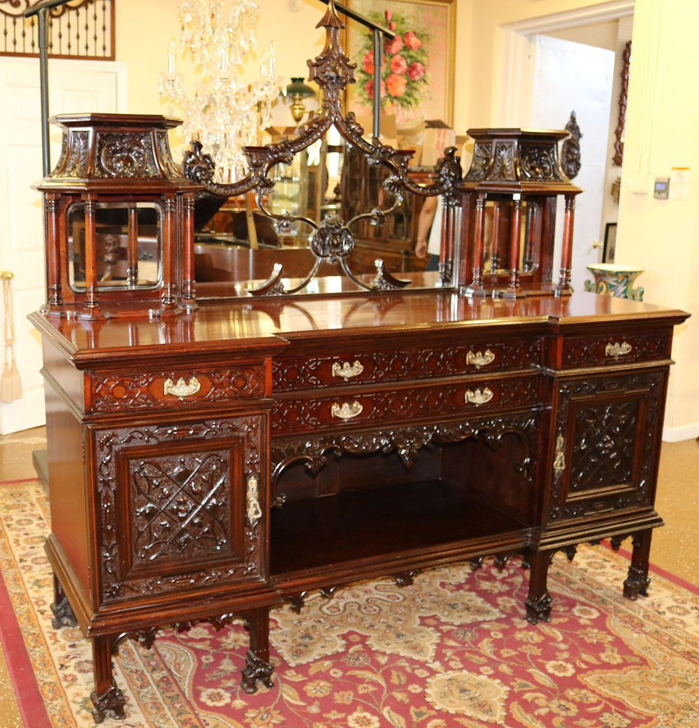 """Gorgeous Carved Mahogany Monumental Chinese Chippendale With Stotfold 32"""" Wide Drawer Servers (View 15 of 15)"""