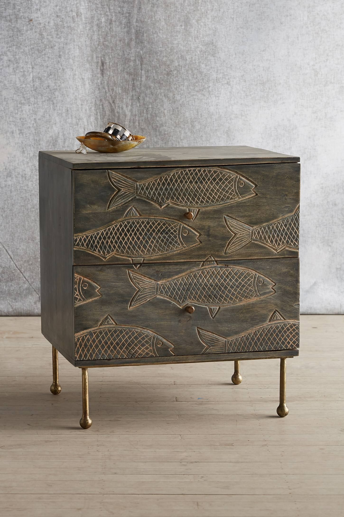 """Handcarved Streamlet Nightstand 