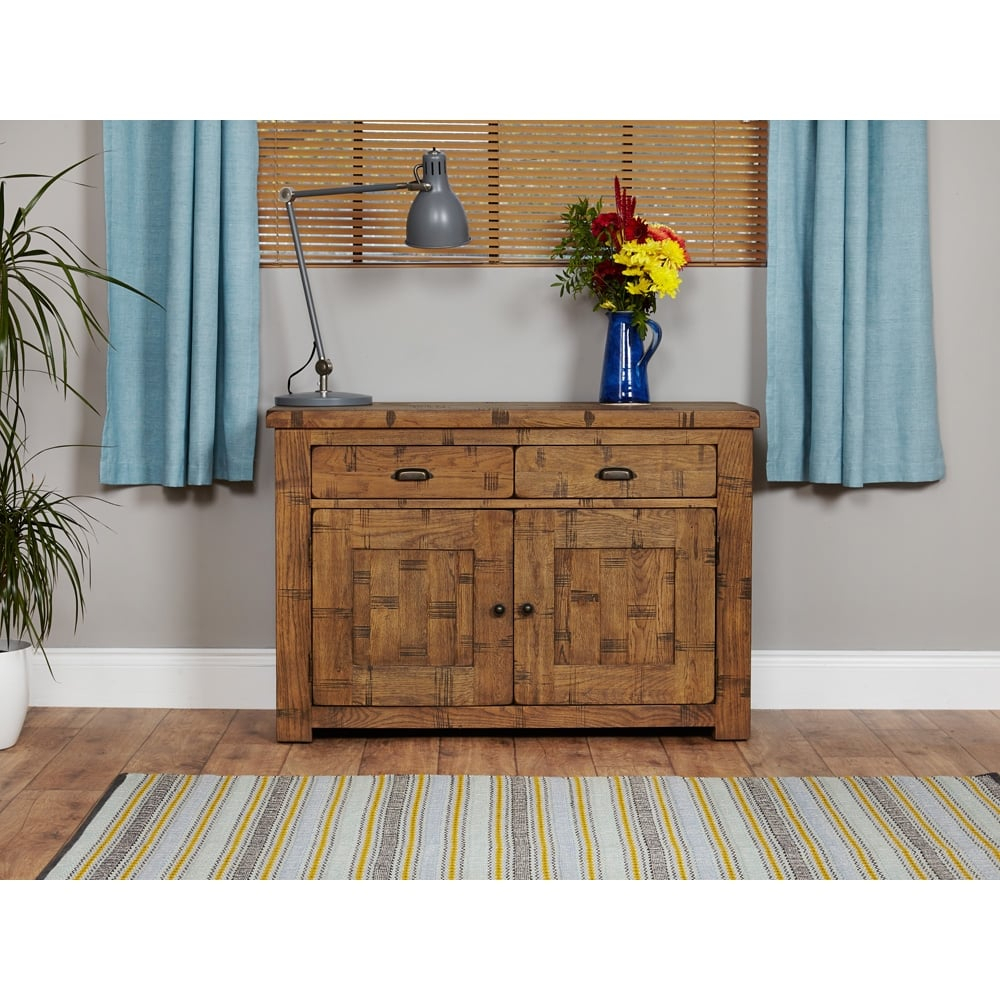 """Heyford Rough Sawn Oak Small Sideboard 