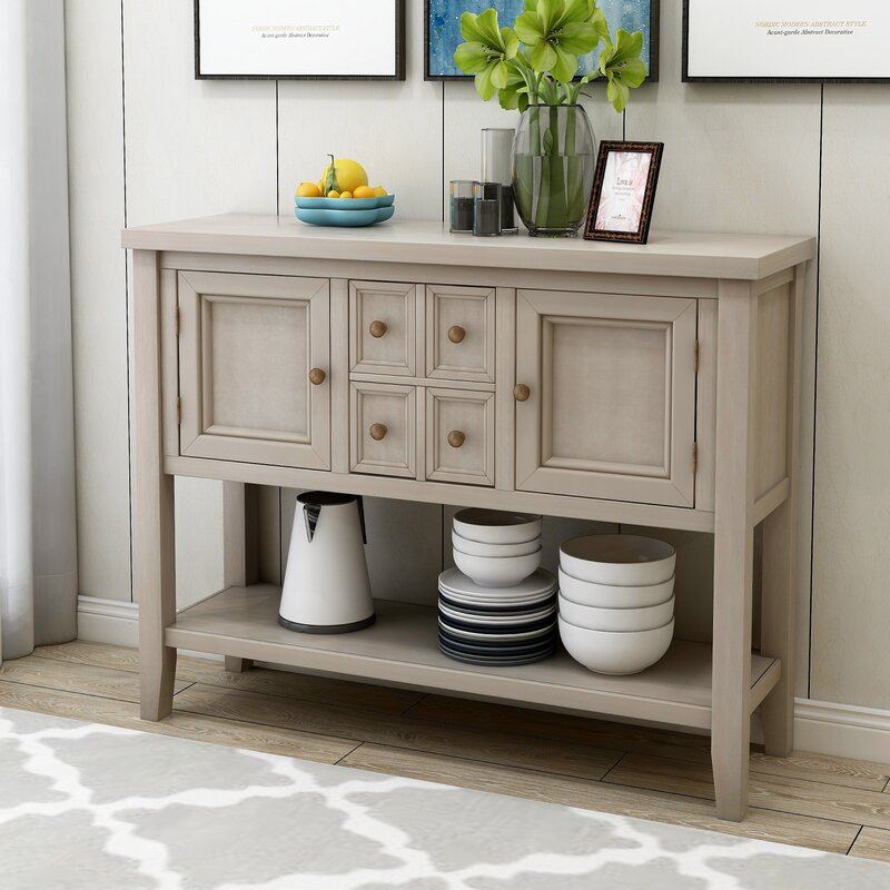 """Highland Dunes Voight 46"""" Wide 4 Drawer Acacia Wood Server Inside Voight 46"""" Wide 4 Drawer Acacia Wood Drawer Servers (View 2 of 15)"""