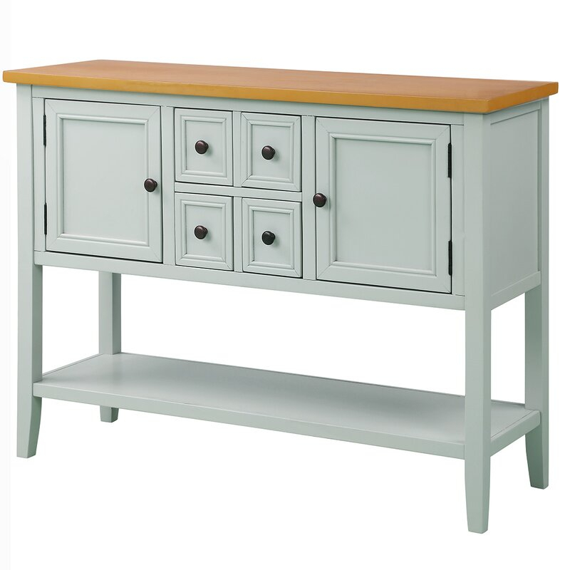 """Highland Dunes Voight 46"""" Wide 4 Drawer Acacia Wood Server Throughout Voight 46"""" Wide 4 Drawer Acacia Wood Drawer Servers (Gallery 6 of 15)"""