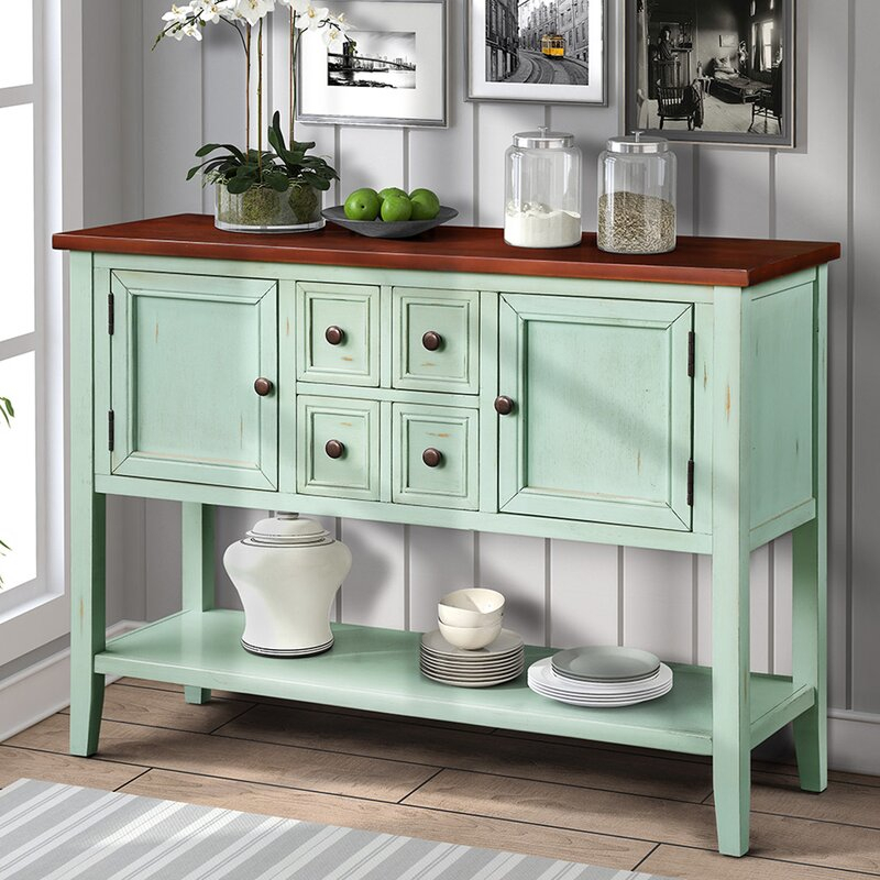 """Highland Dunes Voight 46"""" Wide 4 Drawer Acacia Wood Server Throughout Voight 46"""" Wide 4 Drawer Acacia Wood Drawer Servers (View 8 of 15)"""