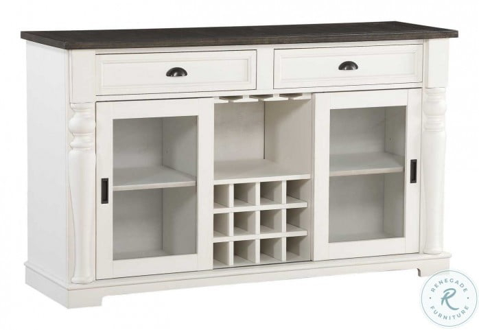 """Joanna Ivory And Dark Oak Server From Steve Silver Intended For Barkell 42"""" Wide 2 Drawer Acacia Wood Drawer Servers (View 8 of 15)"""
