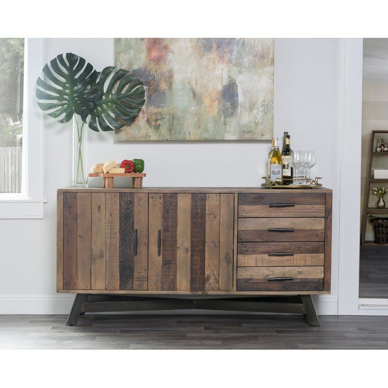 """Lapish 65"""" Wide 4 Drawer Pine Wood Buffet Table Intended For Nahant 36"""" Wide 4 Drawer Sideboards (View 1 of 15)"""