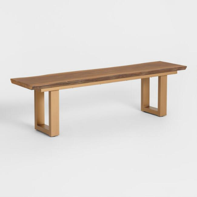 """Live Edge Wood And Gold Metal Sloan Dining Bench In 2020 Regarding Westhoff 60"""" Wide 6 Drawer Pine Wood Credenzas (View 11 of 15)"""
