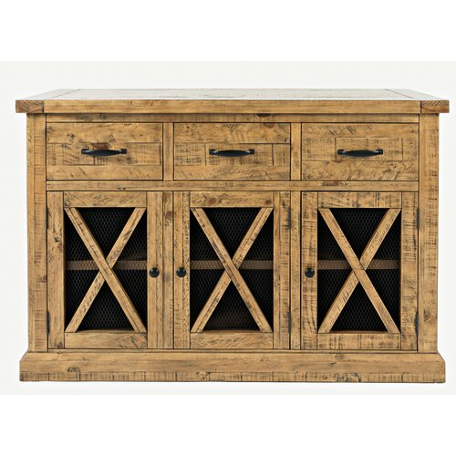 """Featured Photo of Millstadt 52"""" Wide 3 Drawer Pine Wood Buffet Tables"""