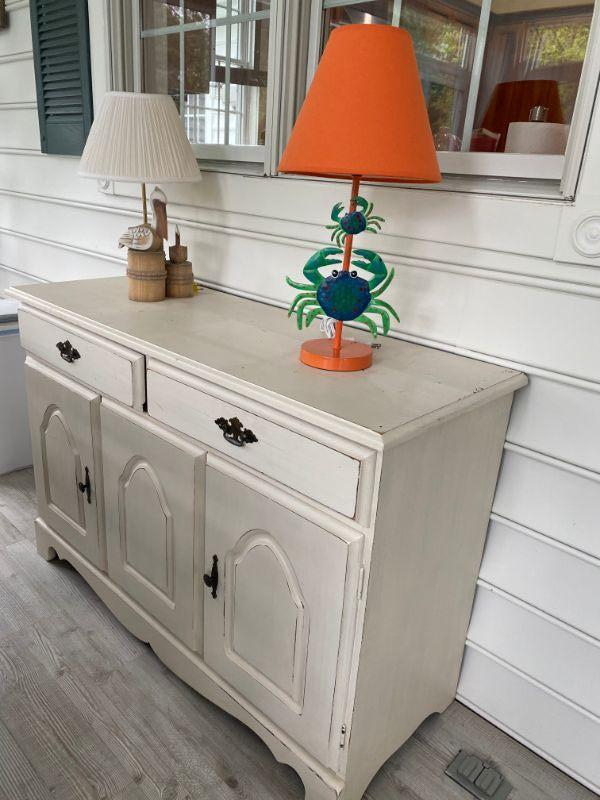 """Lot #24 White Painted Side Cabinet / Server 