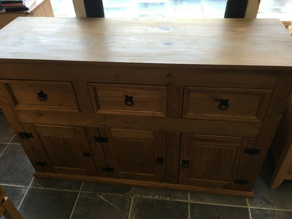 """Mexican Pine 3 Drawer 3 Door Sideboard In Very Good For Millstadt 52"""" Wide 3 Drawer Pine Wood Buffet Tables (View 8 of 15)"""