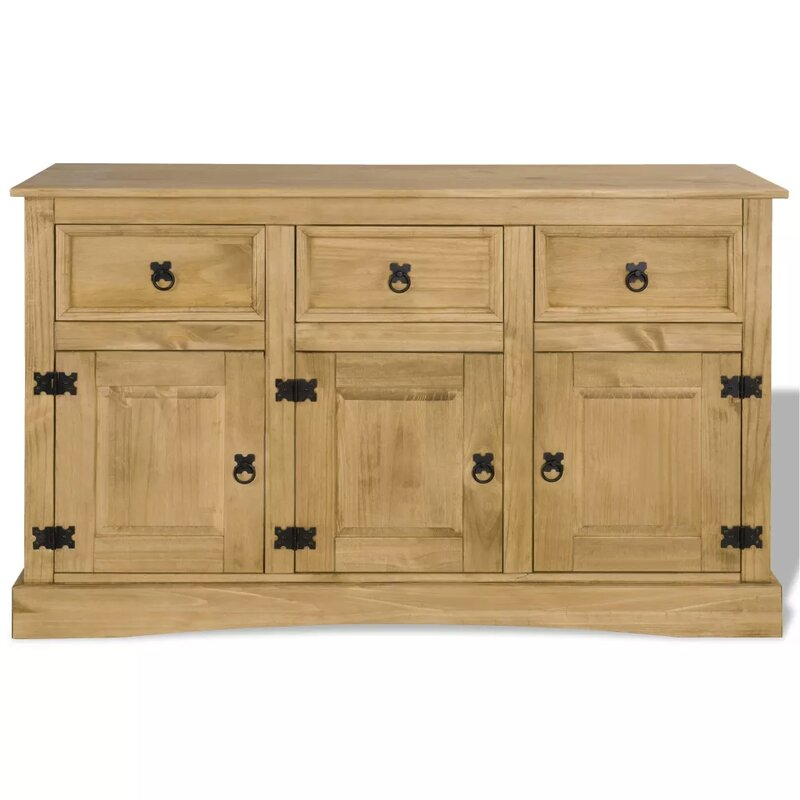 """Millwood Pines Jaeger Mexican 52"""" Wide 3 Drawer Pine Wood Throughout Millstadt 52"""" Wide 3 Drawer Pine Wood Buffet Tables (View 2 of 15)"""