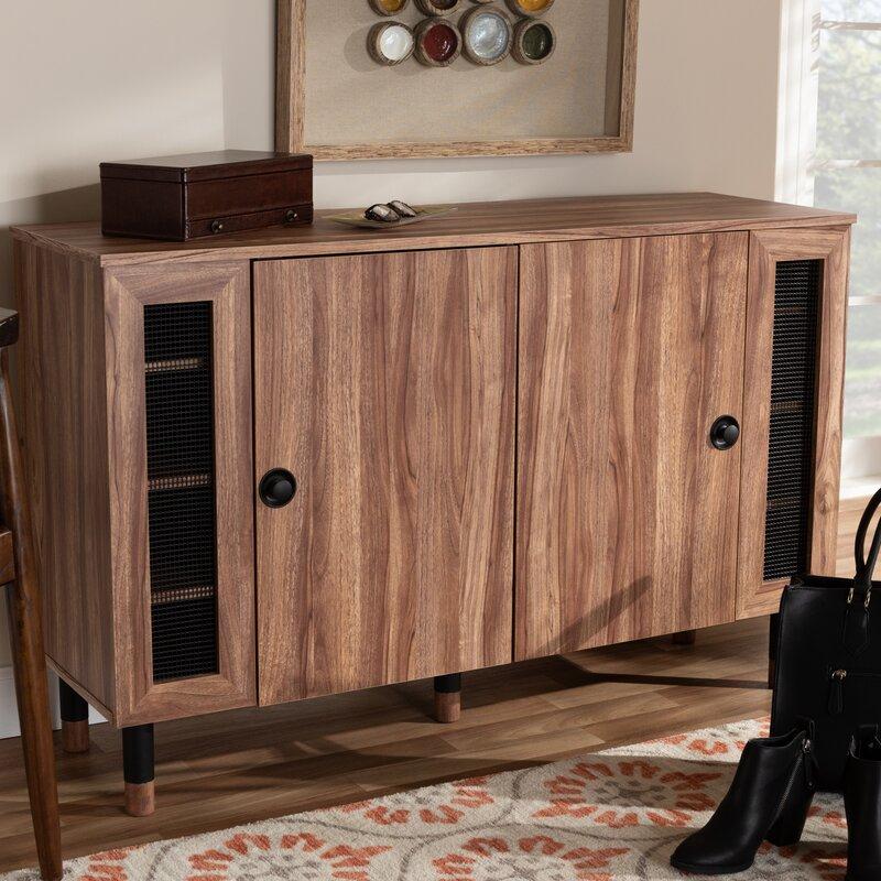 Millwood Pines Modern And Contemporary 2 Door Wood Regarding Millwood Pines Floor Storage Cabinet With 2 Doors And 2 Open Shelves (View 7 of 15)
