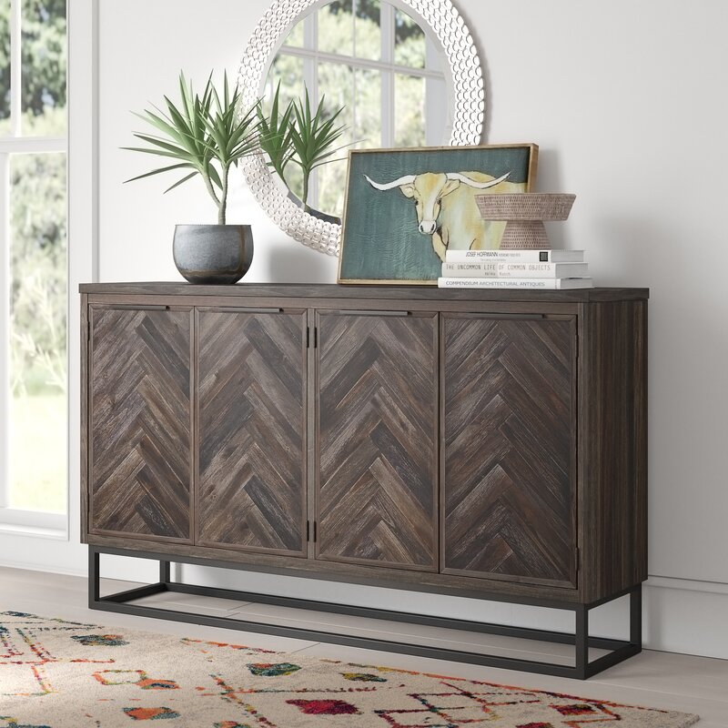 """Mistana™ Kaelyn 66"""" Wide Acacia Wood Credenza & Reviews Pertaining To Findley 66"""" Wide Sideboards (View 5 of 15)"""