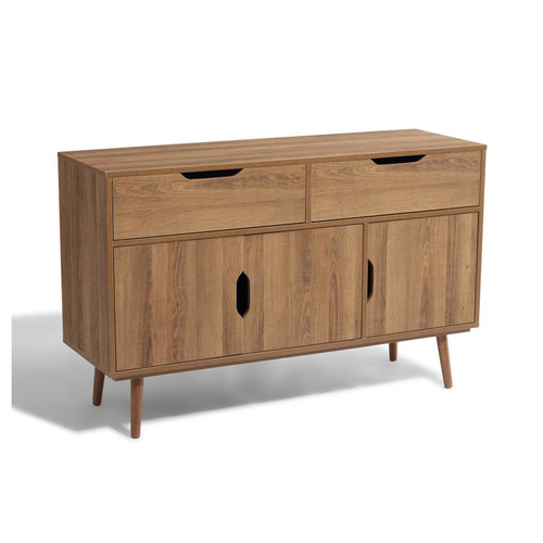"""Natural Style 2 Drawer And 2 Door Buffet Kitchen Sideboard Intended For Slattery 52"""" Wide 2 Drawer Buffet Tables (View 12 of 15)"""