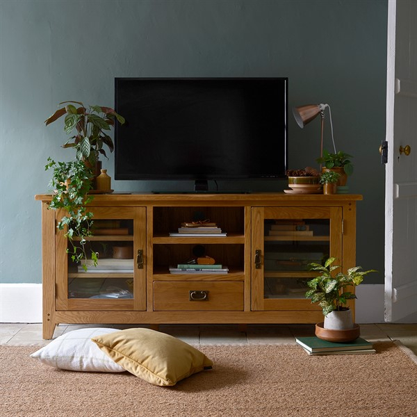 """Oakland Glass Tv Stand – Up To 65"""" – The Cotswold Company In Adalberto Tv Stands For Tvs Up To 65"""" (View 10 of 15)"""