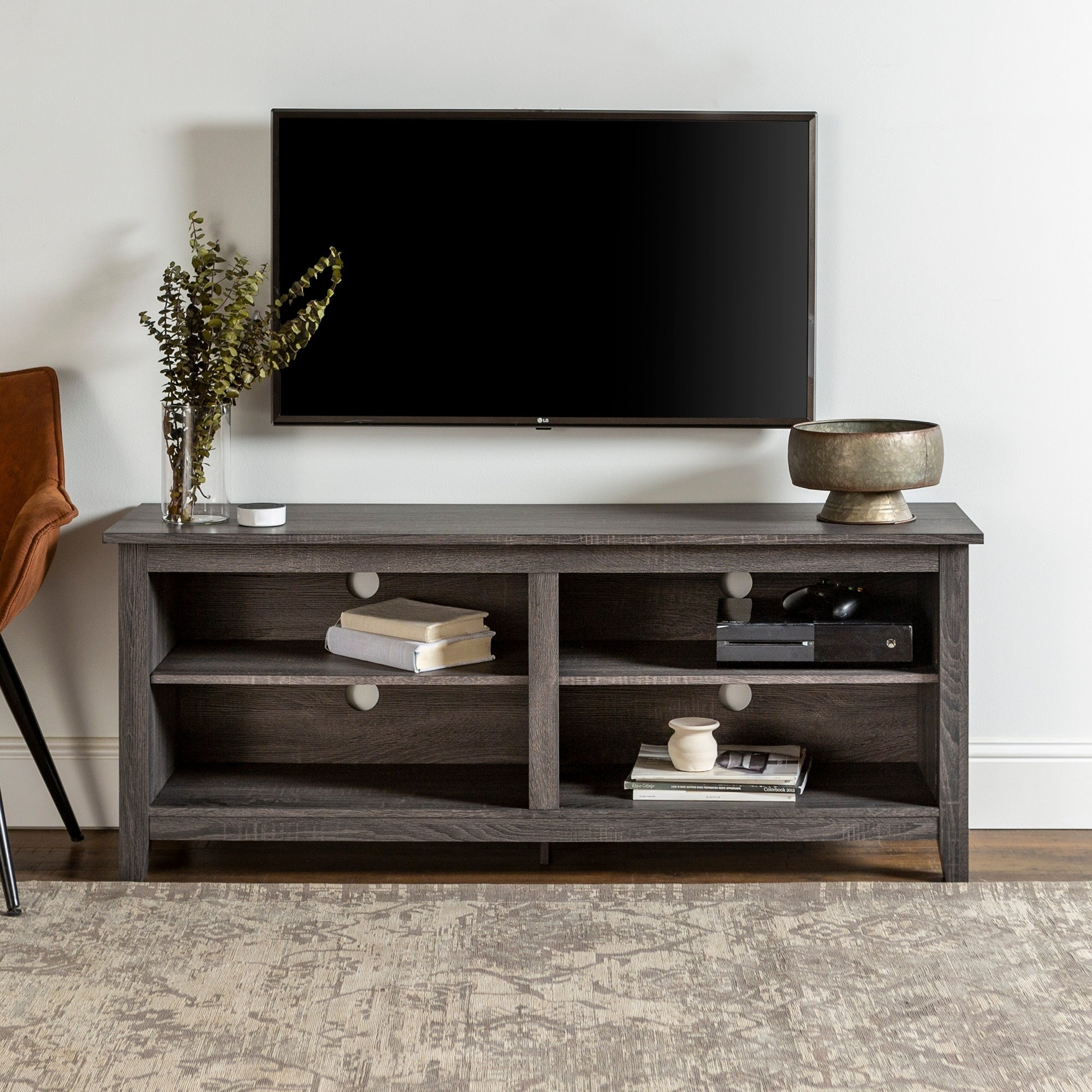 """Porch & Den Harmony 58 Inch Charcoal Tv Stand Console Pertaining To Jace Tv Stands For Tvs Up To 58"""" (View 5 of 15)"""