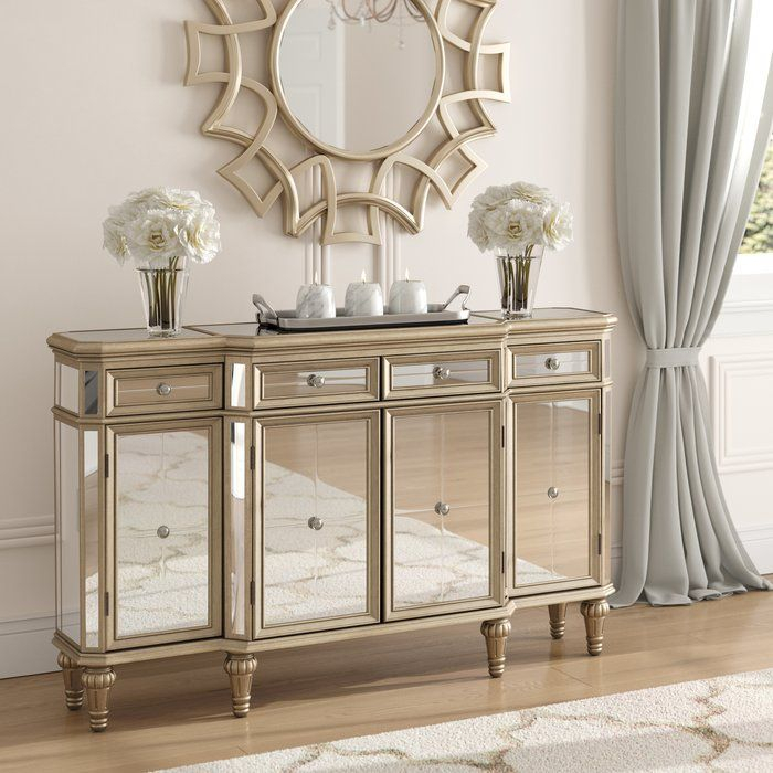 """Poston 60"""" Wide 4 Drawer Buffet Table In 2020 